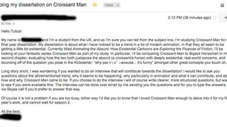 Wow! UK student does his Dissertation on Croissant Man.