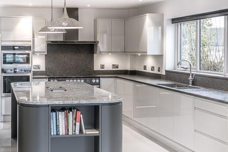 Vicount White Granite Island & Leathered Steel Grey Worktops