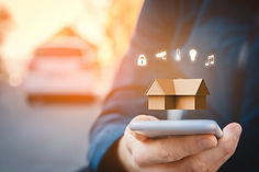 Smart home, intelligent house, and home automation app security concept. Smart home app on