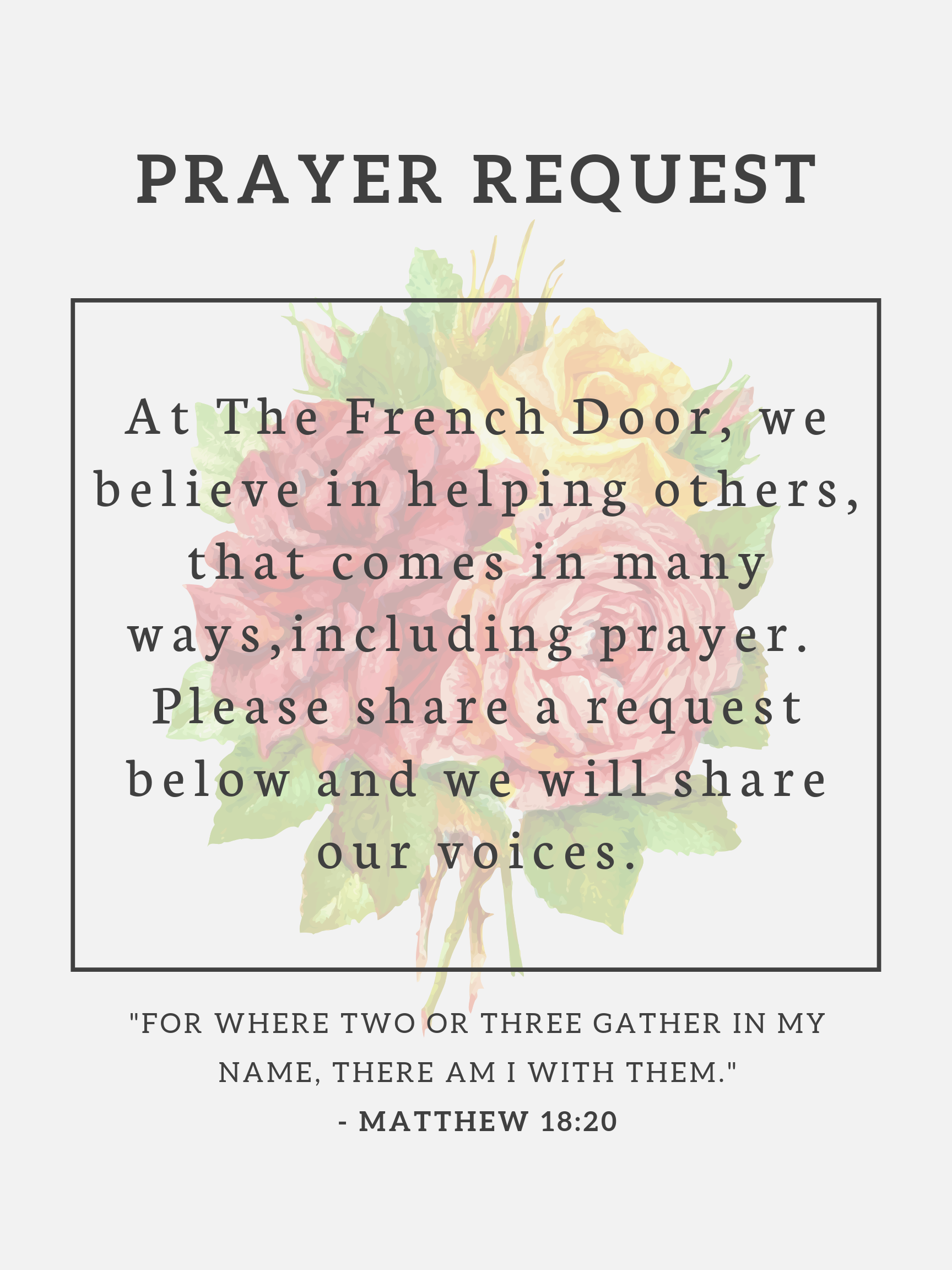 At The French Door, we believe in helpin