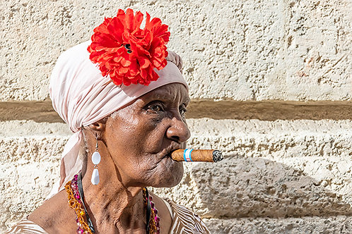 Cuban Woman with Rose