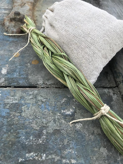 sweetgrass braid, smudging tools, ritual items, smudge stick alternatives, cleansing, protection