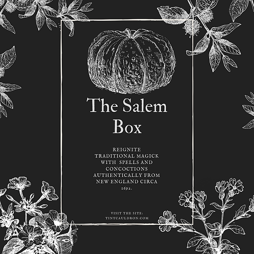 Salem Witch Trials Box for traditional witchcraft spells, rituals, tools and altar decor