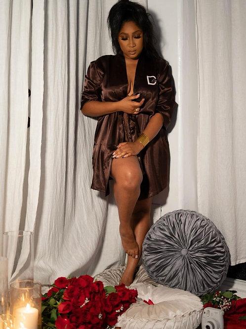 Luxe Satin Robe I Dark Chocolate