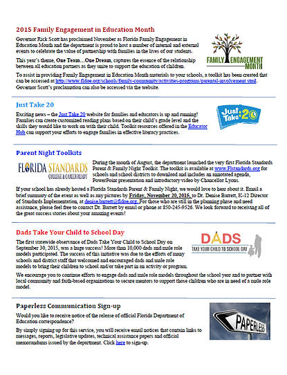 2015 Family Engagement News and Info