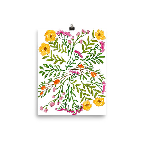 Flowers and Leafy Poster
