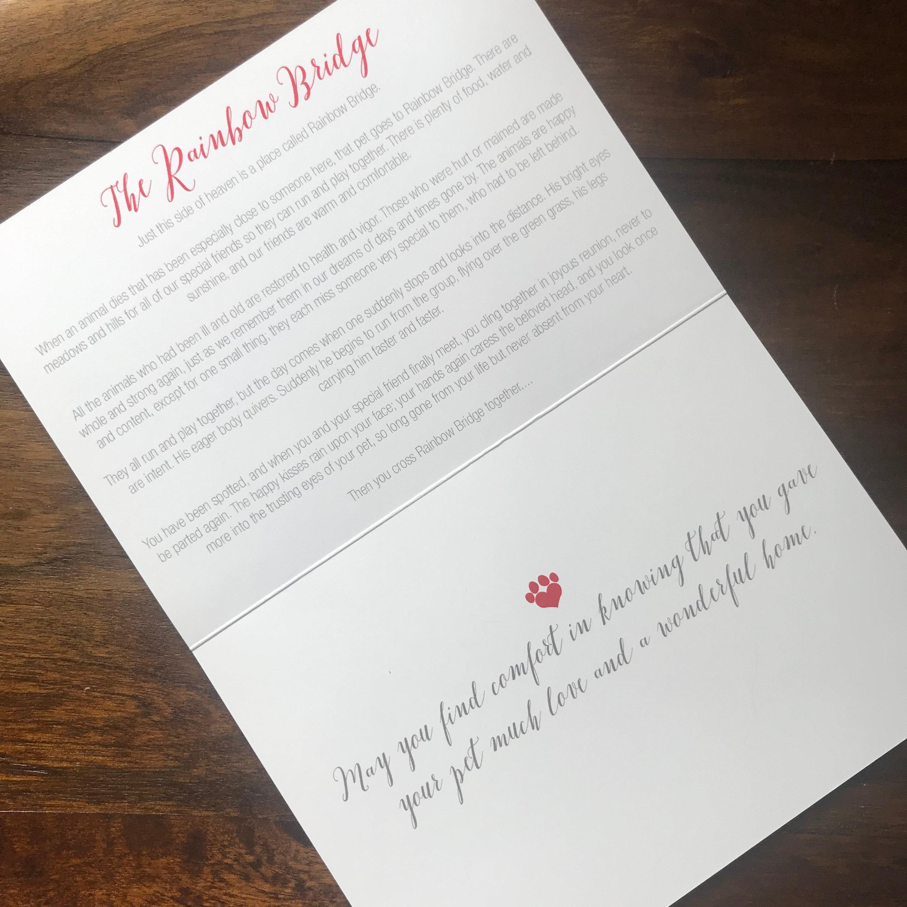 Pet Sympathy 2 Cards & Envelopes Rainbow Bridge Bereavement Condolence