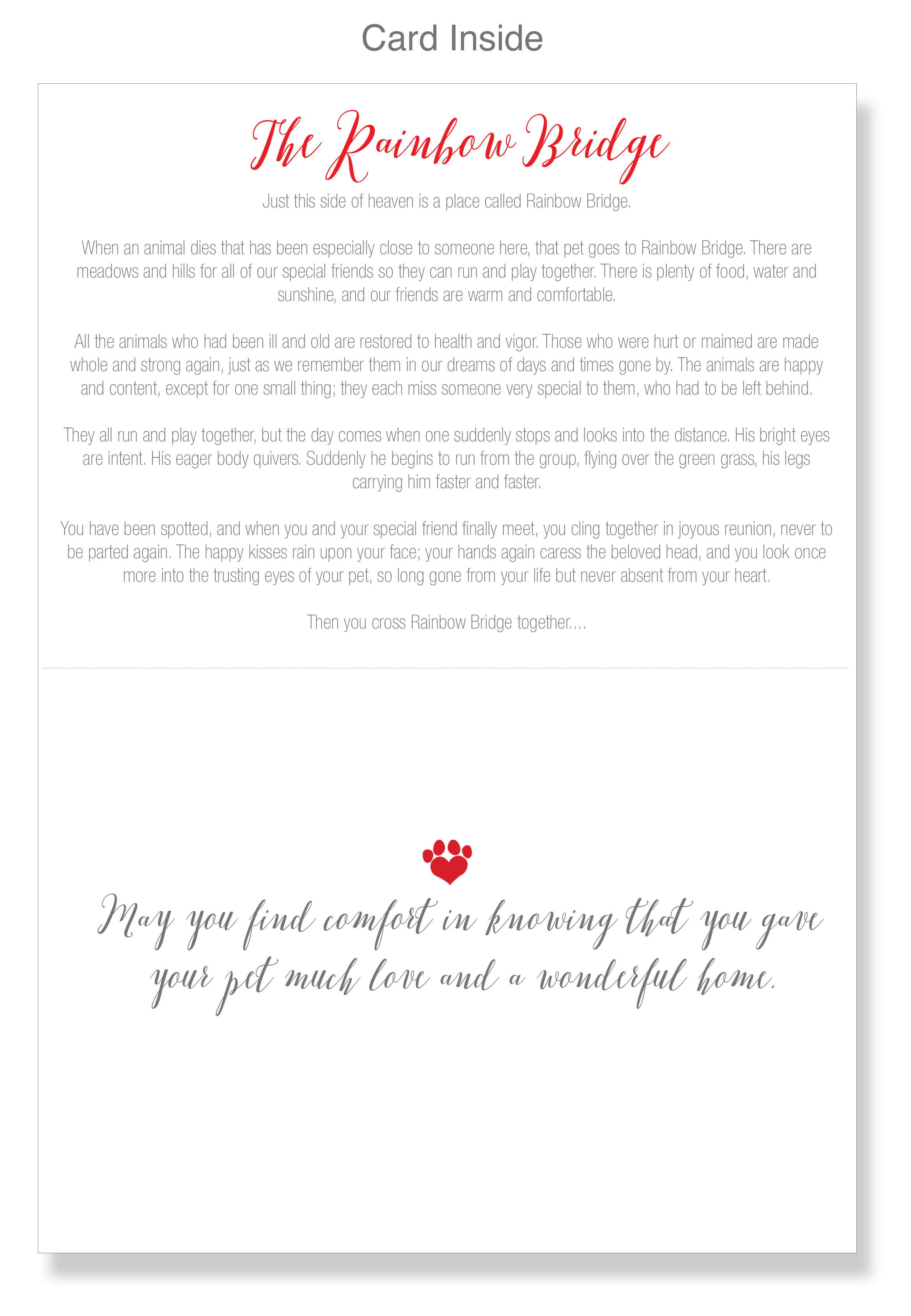 graphic regarding My Dog is Home Alone Card Printable identified as Pet dog Sympathy 2 Playing cards Envelopes Rainbow Bridge Bereavement Condolence