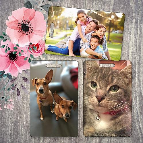 Custom Photo Tag Pets Dog Cat Kids Family Friends Customized Bag I.D.