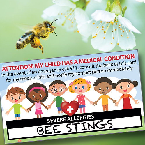 My Child Kid has Severe Allergies Medical Condition Information Emergency Wallet Card