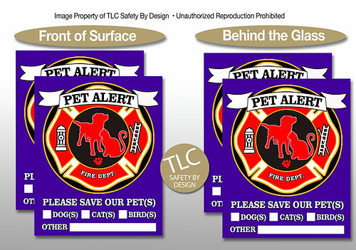 PET FIRE RESCUE Safety Alert Emergency Pet Dog Cat Window Door Decal Cling  Sticker