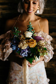 Mauve blue and toffee bridesmaid bouquet by Stephanie Belle Botanical Photograph by KinshipbyKristy