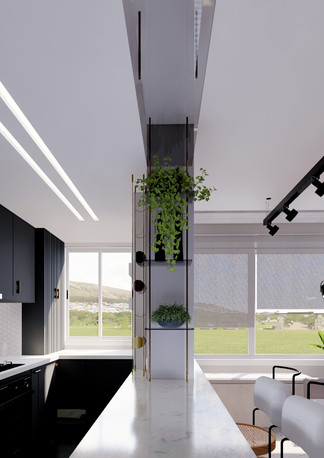 Cozinha integrada com sala de estar.