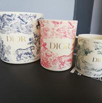 Grands pots à bougie Dior avant décapage