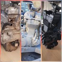 moteur de moto avant/décapé/repeint