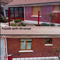 façade avant/après décapage par aérogommage