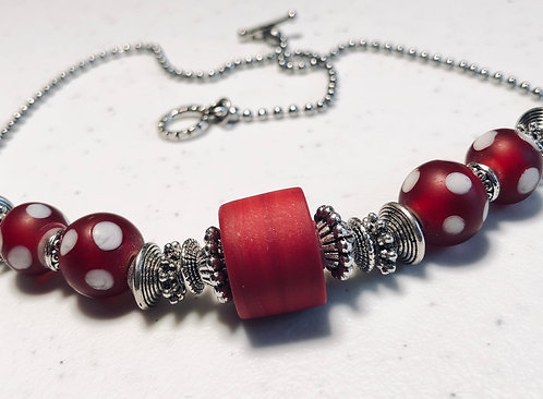 Recycled Glass Red Polka Dot Necklace