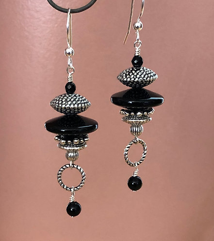 Black Onyx & Pewter Earrings