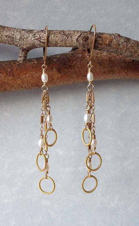 Gold & Pearl Dangles