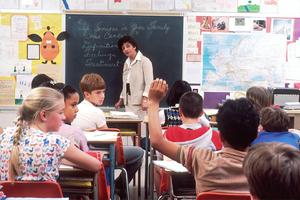 elementary school teacher teaching class