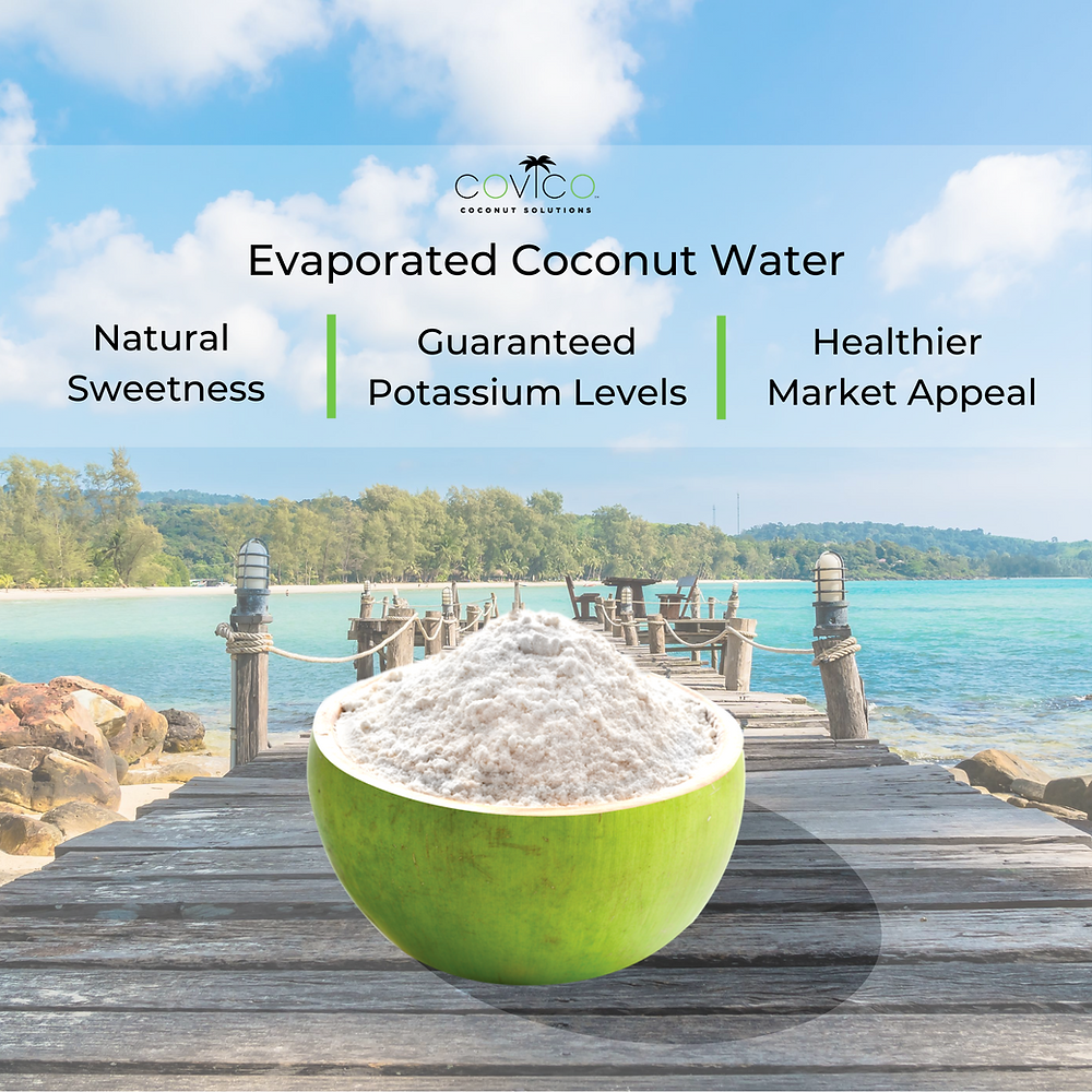 Covico Evaporated Coconut Water is naturally sweet, has guaranteed potassium levels, and has a healthier market appeal