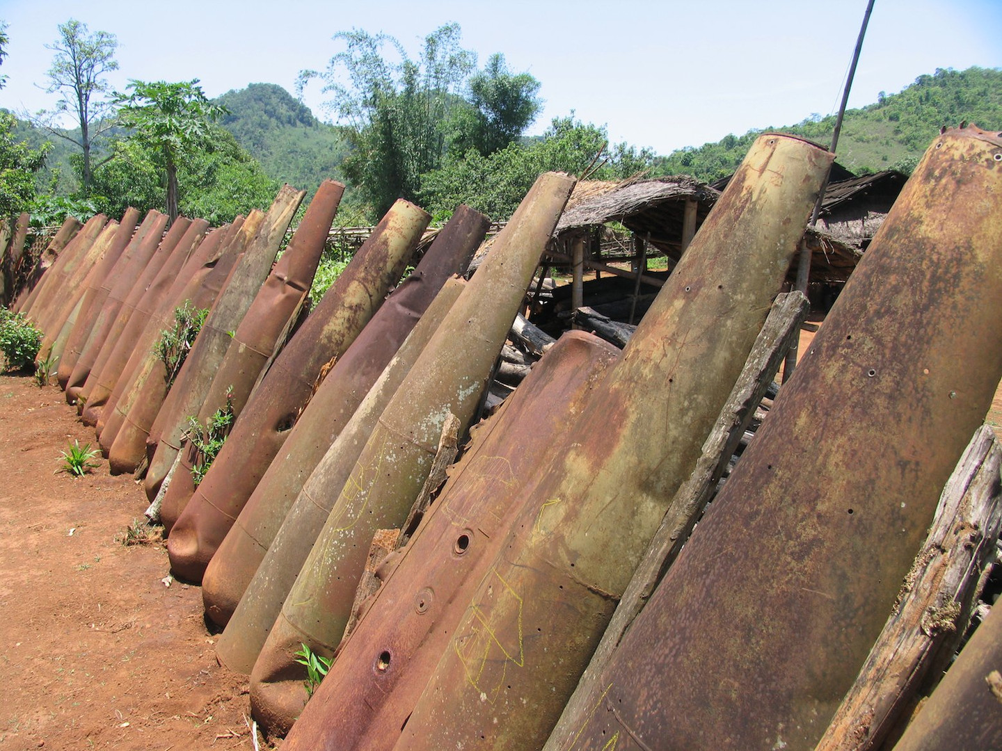 Laos-Plain-of-Jars-village-fence-made-of