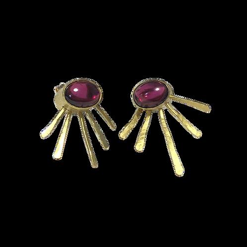 Garnet Fascicle Earrings -18ct gold