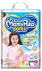 MamyPoko Extra Dry Skin Pants (Girls), L, 52pcs