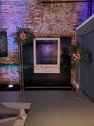 Photo Backdrop w/Personalized Polaroid and Faux Flowers
