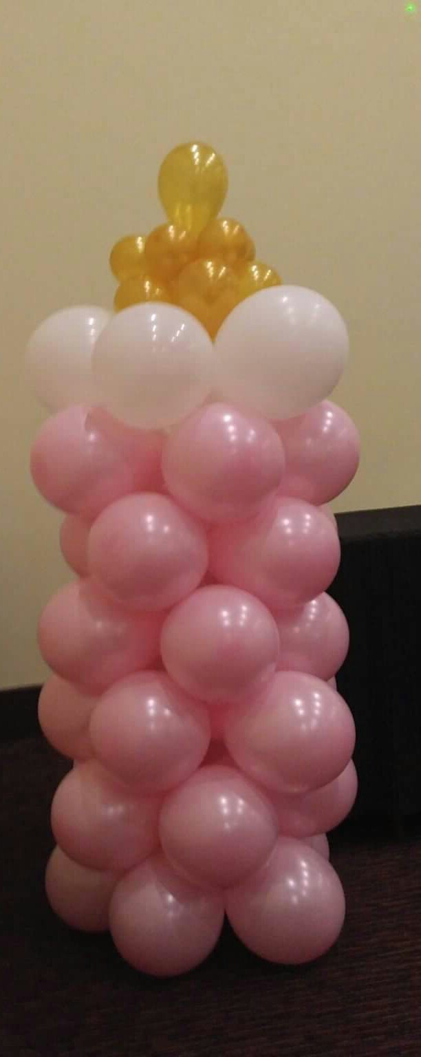 Baby Girl Bottle Balloon Column