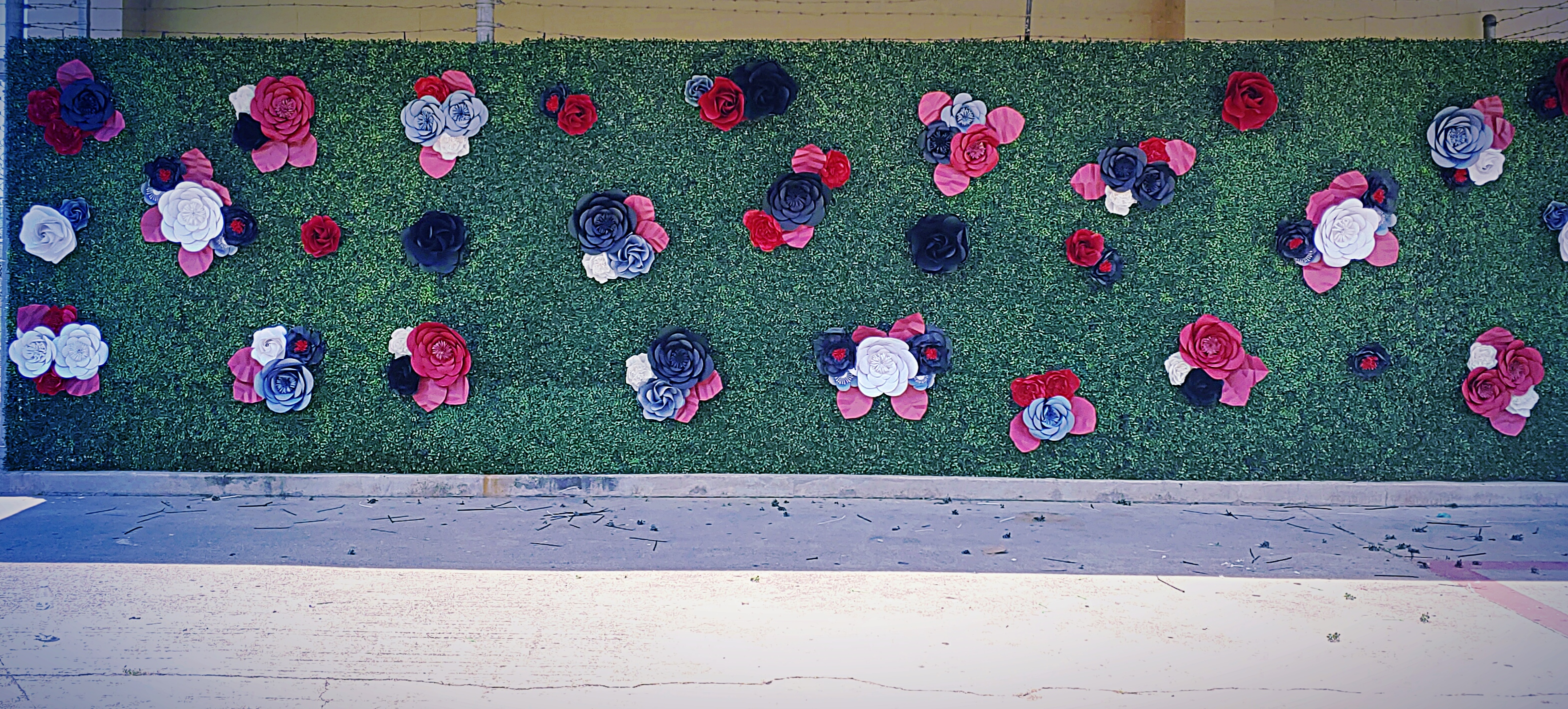 Paper Flower Boxwood Backdrop