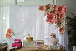 Paper Flower Backdrop Sweets Table
