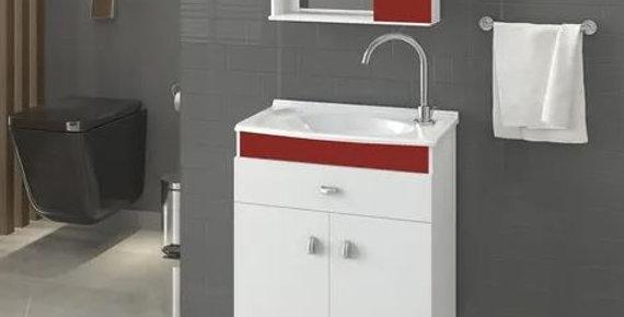 Mueble Para Baño Con Bacha Y Espejo Rojo Alta Calidad Corup Sensa