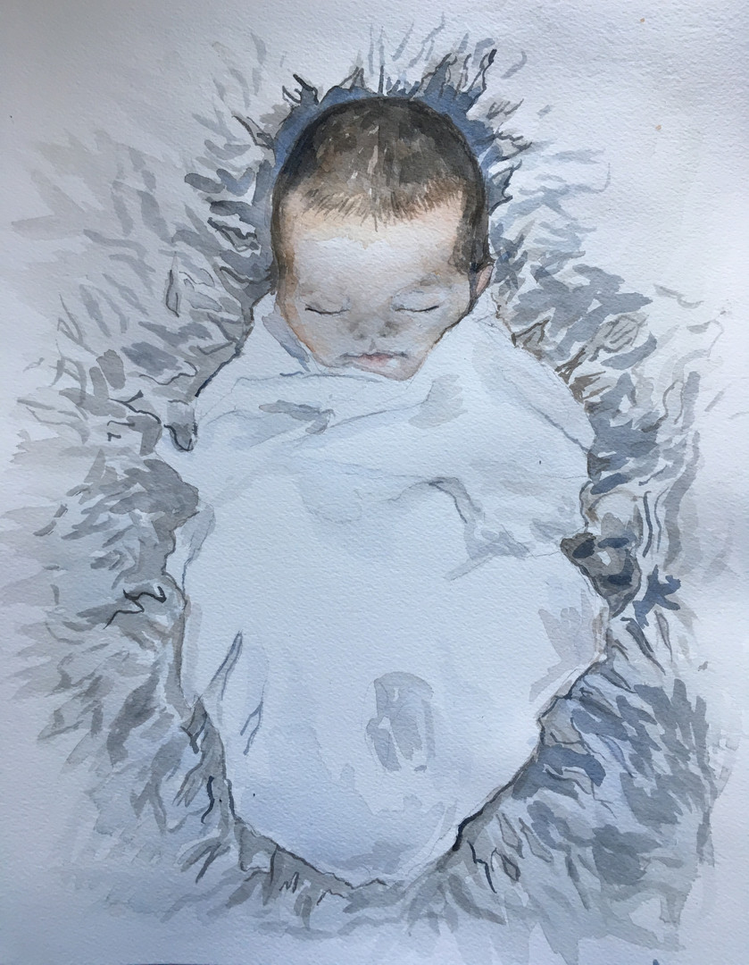 "watercolor on Arches paper 8"" x 10"""
