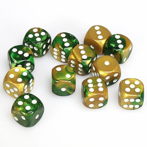 Chessex Gemini: 12 Dice set Gold - Green/White