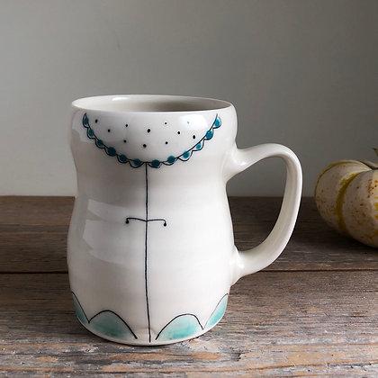 large dot flower mug