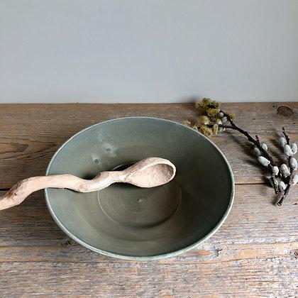 sage gray flared bowl