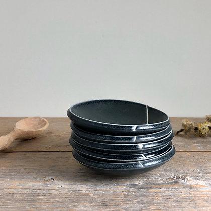 black satin petite dish w line