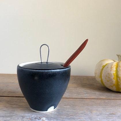 black satin salt jar