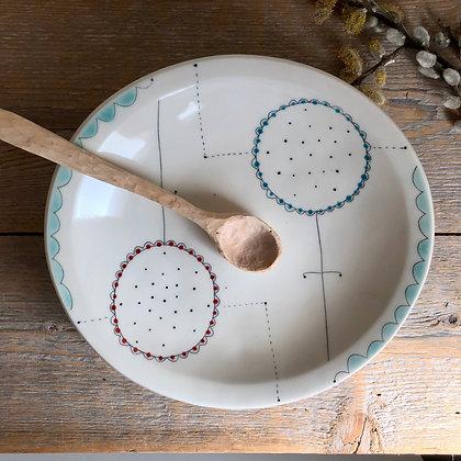 dot flower serving bowl