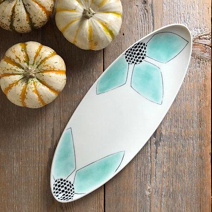 green petal oval tray