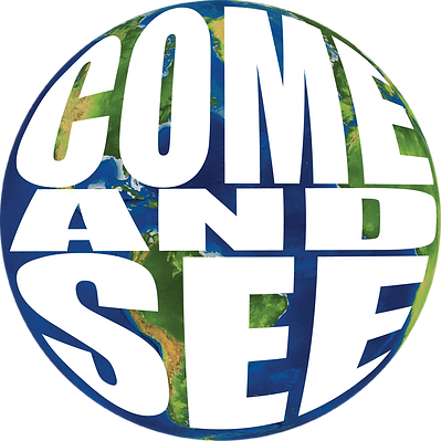 Come and See Logo_White Text Over World.