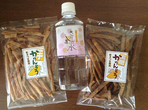 【丸得セット】芋かりんとう【紅さつま使用】4袋・きりしまの水(500ml×4本)