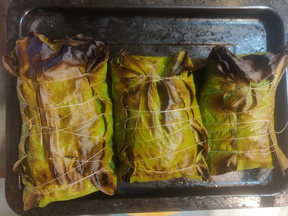 Tamarind & Curry Leaves Rice, baked in Banana Leaves by Nutritionist Khushboo Jain Tibrewala, Mumbai