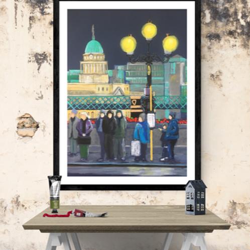 """""""Dublin Bus Stop"""" framed on wall"""