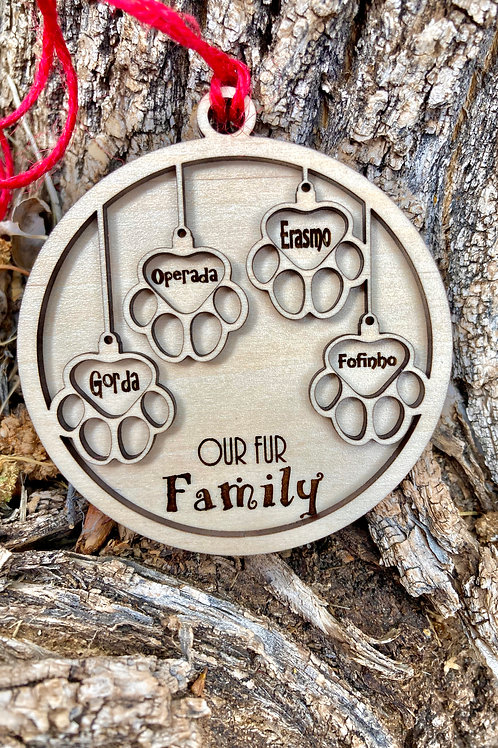 Fur Family Ornament - Four pets