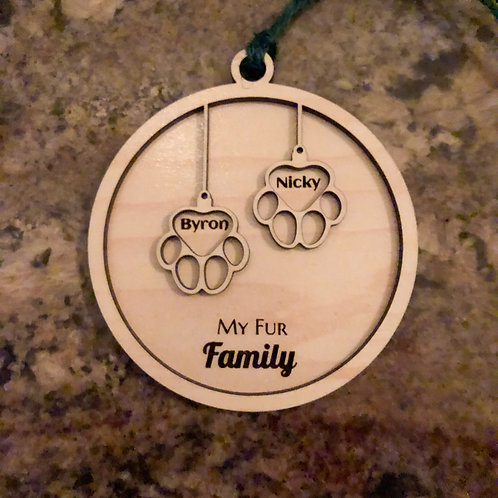 Fur Family Ornament - Two pets