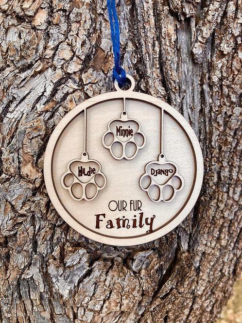 Fur Family Ornament - Three pets