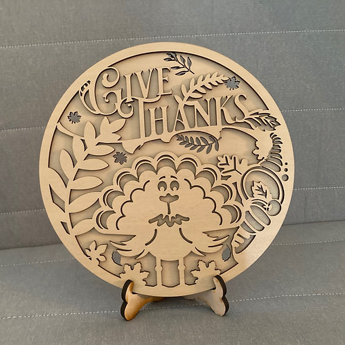Give Thanks Round Tabletop Decor
