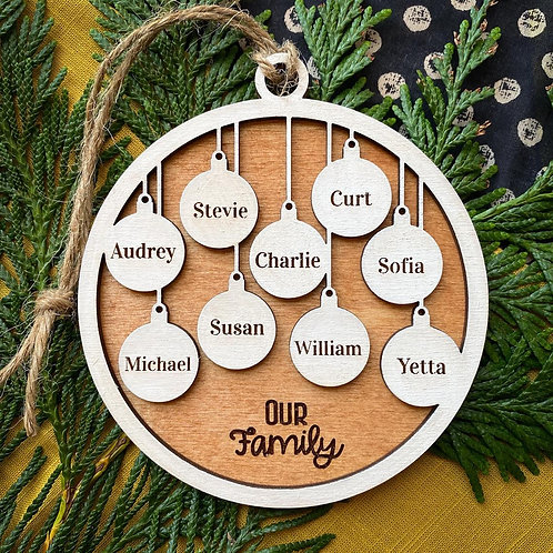 Family Ornament - 9 members